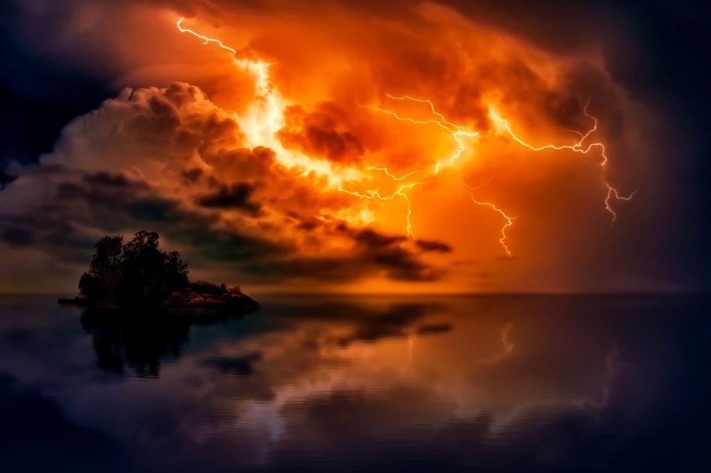 sunset, dusk, lightning